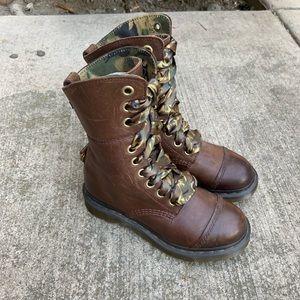 Dr Martens Aimilita Brown Leather Camo Combat Boot